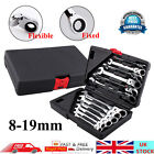 Pro 12pc Combination Spanners Ratchet Wrench Tool Kit Car Garage 8-19mm UK SELLE