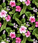 BTY FUCHSIA HIBISCUS Tropical Print 100 Cotton Quilt Craft Shirt Fabric by Yard