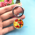 Red Poppies Art Photo Tibet Silver Key Ring Glass Cabochon Keychains 438