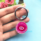 Pink Geode Art Photo Tibet Silver Key Ring Glass Cabochon Keychains 403