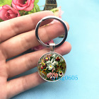 Orchid Haeckel Art Photo Tibet Silver Key Ring Glass Cabochon Keychains 347