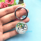 Watercolor Bicycle Art Photo Tibet Silver Key Ring Glass Cabochon Keychains 538