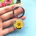 Sunflower Art Photo Tibet Silver Key Ring Glass Cabochon Keychains 485