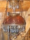Antique Glass Brass Copper Hanging Parlor Lamp Oil/K USA 1850-1889