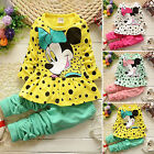 Toddler Kids Girl Minnie Mouse Outfits T shirt Tops Dress Pants 2pcs Clothes Set