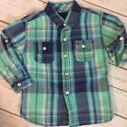 Tommy Hilfiger Boys Shirt Toddler Plaid Button Down Teal Navy Roll Up Size 2T
