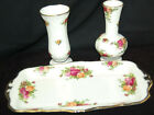 Royal Albert Old Country Roses 2 Bud Vases  Sandwich Tray S7832