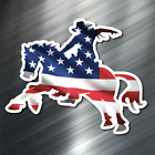1 AMERICAN FLAG Cowboy Vinyl Decal Sticker Car United States Horse USA US NEW