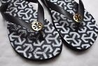 TORY BURCH LATTICE BLACK GOLD SANDALS FLIP FLOP WOMENS SHOES size 8