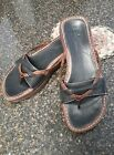 Indigo By Clarks Flip Flops Brown On Black Sandal Leather Thong Slide 75 M