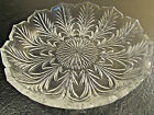 Clear Glass Serrated Edge Palm Leaf Pattern Candy Nut Mint Serving Bowl Dish