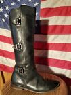 SPORTY FRYE PAIGE TRIPLE BUCKLE RIDING BOOT SIZE 7 RICH BLACK LEATHER SO HOT