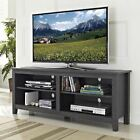 Charcoal Gray TV Stand Home Entertainment Media Audio Storage Cabinet Center 60