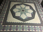 Handmade 8 point Star Bedspread Purple Blue Green KING Bed Quilt 80s 106x108