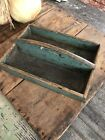 Early Antique Wooden Knife or Cutlery Tray Gorgeous Original Blue Green Paint