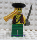 Lego Pirate with Tricorne Hat  Minifigure with Cutlass and Spyglass -  New
