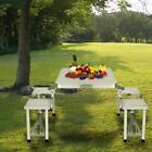 Outdoor Portable Folding Aluminum Picnic Table with 4 Seats Camping CLSV