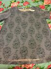Old Navy Womens Blue Paisley Floral Loose Fit Hi lo Tee Size M