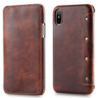 For Apple iPhone X Oil Wax Genuine Leather Slim Flip Wallet Card Slot Case Cover