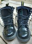 Dr Doc Martens Black Leather Delaney Kids Youth Boots Shoes US 2