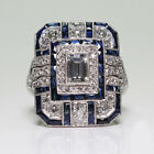 Noble 925 Silver White Topaz  Blue Sapphire Ring Wedding Bridal Women Jewelry