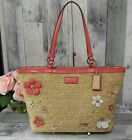 COACH 29861 Straw Patent Leather Flower Applique Top Zip Shoulder Bag Tote