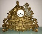 BEAUTIFUL ANTIQUE 19th CENTURY BRONZE AND SILVER FRENCH MANTEL CLOCK FULLY WORKS