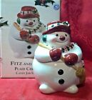 Fitz & Floyd Plaid Christmas Snowman  Candy Jar circa 2000 NEW in the Box CUTE!