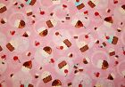 Confections pink Robert Kaufman fabric cupcake cherry sold by yard 3 avail OOP
