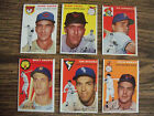 1954 TOPPS BASEBALL LOT OF 6 CARDS EX+ CONDITION