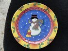 Sango Sweet Shoppe Christmas Blue Center Snowman Yellow Rust Rim Salad Plate