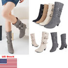 US Womens High Heels Riding Mid Calf Suede Boots Buckle Winter Ladies Shoes New