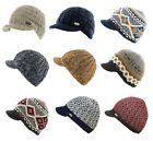 Kusan 100% Wool Knitted Peaked Beanie Cap Choice of Colours & Patterns One Size