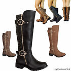 Womens Riding Low Heel Knee High Buckle Zipper Boots Shoes Black Brown Tan 6 10