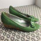 Etienne Aigner Digit Green Open Toed Cork Wedge Shoes Size 8M