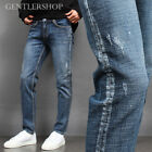 Mens fashion Vintage Effect Faded Distressed Painted Slim Jeans 3582 GENTLER