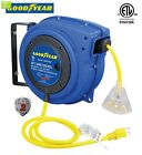 Goodyear Extension Cord Reel, 40 ft., 14AWG/3C SJTOW, Triple Tap with LED Lighte