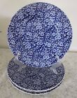 4 Queen's Calico Blue Dinner Plates 10 3/4