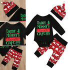 3Pcs Christmas Newborn Baby Boy Girl Plaid Tops Romper Pants Outfits Clothes USA