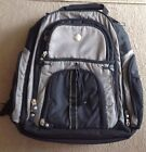 """Dell 17"""" Laptop Backpak Padded Black Silver Office School Travel Computer  GUC"""