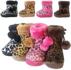 New Baby Leopard Print Soft Faux Fur Boots Toddler Girls Boys Shoe Size 3 to 10