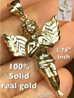 GOLD Angel pendant 10k Yellow charm Necklace Solid real Gift 175 Big