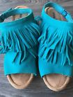 NEW Minnetonka Womens Ashley Wedge Sandals Turquoise Leather Suede Size 10