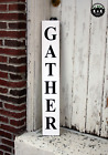Large Rustic Wood Sign Gather Farm house Distressed Fixer Upper Kitchen Rustic