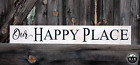Large Rustic Wood Sign Our Happy Place Farmhouse Distressed Fixer Upper Family