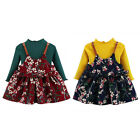 2PCS Newborn Kid Baby Girl T shirt Sweater Tops+ Floral Dress Outfit Clothes Set