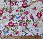 SNUGGLE FLANNEL PINK BLUE BIRDS  FLORAL on WHITE 100 Cotton Fabric NEW BTY