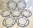 FITZ AND FLOYD 1980 Salad Dessert Plates FLEURI in Glaze Set of 6 Blue Rim