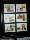 LAMBRETTA and VESPA SCOOTERS Reproduction collectors cards in frames