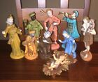 Vintage Mid Century Large 9 Piece Nativity Set Italy Plastic Rubber